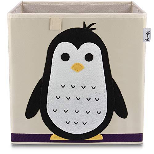 Lifeney Kinder Aufbewahrungsbox I praktische Aufbewahrungsbox für jedes Kinderzimmer I Kinder Spielkiste I Niedliche Spielzeugbox I Korb zur Aufbewahrung von Kinder Spielsachen (Pinguine hell)