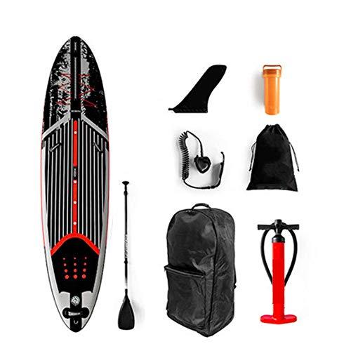Y-PLAND Tabla de Stand Up Paddle Surf Inflable para Adultos con Accesorios: Mochila, Bomba de Mano, Aleta Inferior, Correa de Tobillo, Paleta de Fibra de Vidrio-Negro_351 * 81 * 15 CM