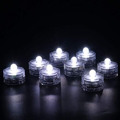 Rhytsing 12er Set Unterwasser wasserdichtes Led Teelicht für Hochzeit und Party, Stimmungsteelicht, Weiße Stetiges Licht