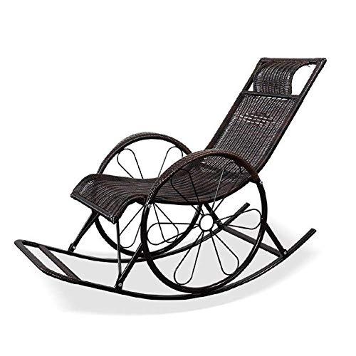 N /A Fauteuil à bascule d'extérieur en osier PE avec appuie-tête, chaises longues et chaises longues, porches, siège à bascule, 5 style (couleur : E), C