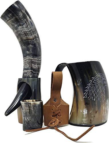 Viking Drinking Horn Cup Mug Set Kit   Mug for Beer, Wine Ale   medieval inspired food safe cup   Horn   Bottle Opener   Shot glass