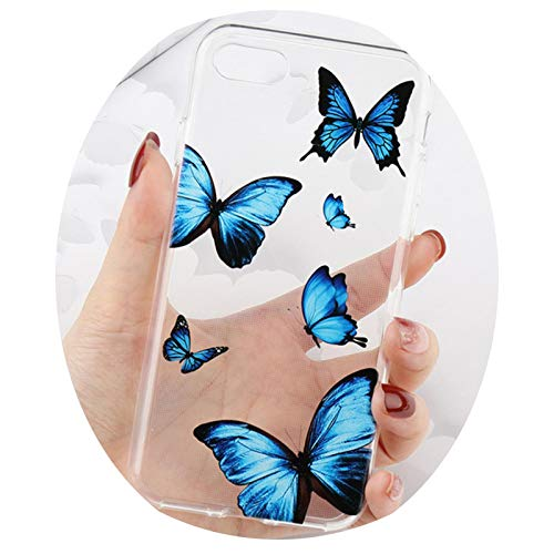Butterfly Case for iPhone 12 Mini 11 Pro MAX X XR XS 7 8 Plus 6 6S SE2020 Clear Transparent Soft Silicone Phone Cover,Blue,For 7Plus 8Plus
