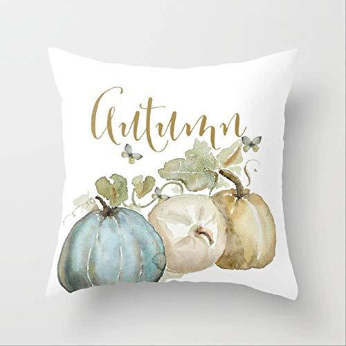 JOEYFAYE Cubierta de cojín de Calabaza Feliz Halloween Almohada Caso de Dibujos Animados hogar decoración de algodón sofá Cama decoración 45x45cm Calabaza-11