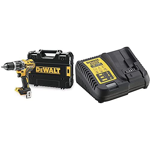 DeWalt Dcd796Nt-Xj Trapano Avvitatore Percussione, 2 Velocita, Motore Brushless In Valigetta Tstak & Dcb115-Qw Caricabatterie Per Piattaforma Xr Litio, Per Batterie 10.8 V