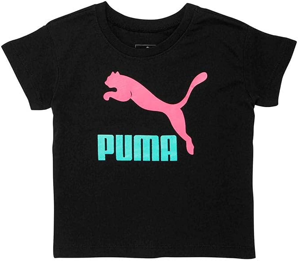 PUMA Toddler Girls Jersey Shoulder Easy Fit T-Shirt Top - Black