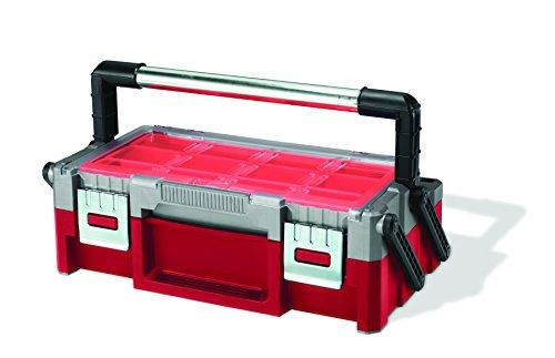 Keter 222628 Caja de herramientas Cantilever 18', Rojo Y Gris, 43.8x12.5x22 cm