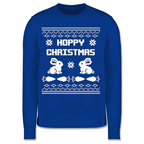 Shirtracer Weihnachten Kind - Ugly Christmas I Hoppy Christmas Hase - 128 (7/8 Jahre) - Royalblau - Ugly Christmas 5 Jahre - JH030K - Kinder Pullover