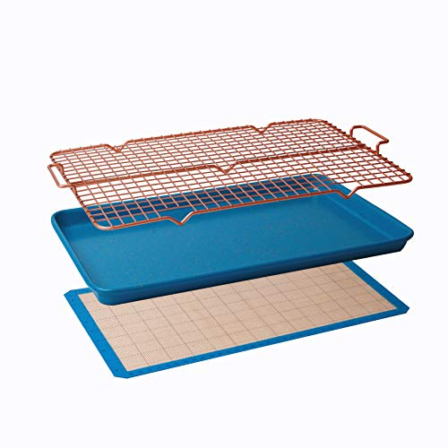 CasaWare 3pc Ultimate Commercial Weight 15 x 10 x 1-inch Cookie Sheet/Cooling Grid/Silicone Mat Bakeware Set (Blue Granite)
