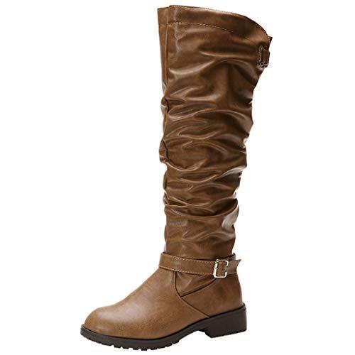 Kaister Damen Lange Stiefel Rundkopf Leder mit Reißverschluss Volltonfarbe Stiefel Damenschuhe Schwarz Winter Stiefel