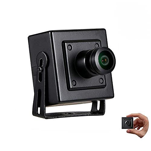 Revotech Fisheye Mini Cámara IP POE,  3MP Cámara de Seguridad Interior Pequeña ONVIF Lente de 1, 44 mm 180 Grados P2P Cámara de Video CCTV H.265 (I706- 4- P Negro)