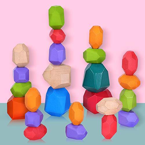 Piedras de Madera para Niños, 24 Piezas Bloques de Construcción de Piedras de Colores de Madera Natural, Juego de Apilamiento Bloques de Roca Juguetes Montessori para pequeños niñas niños