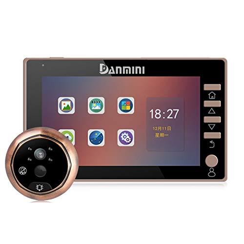 Ring video doorbell Danmini 45CHD-M Pantalla de 4.5 pulgadas Cámara de seguridad 3.0MP Sin molestar Visor de mirilla, Tarjeta TF de soporte / Visión nocturna / Grabación de video / Detección de movimi