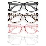 Blue Light Blocking Glasses - Anti Glare UV/Blue Ray Filter Computer Gaming Glasses Fashion Fake Eyeglasses Frames for Women Men (Gaoye 4-Pack)