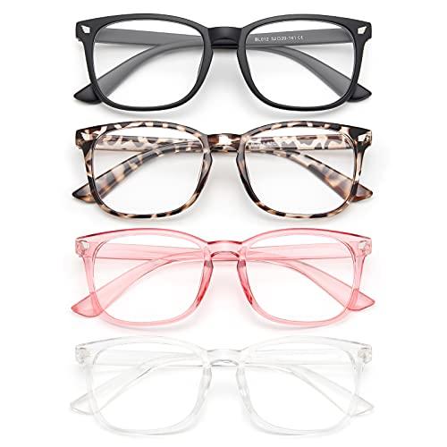 Gaoye Paquete de 4 gafas de luz azul, lentes anti rayos UV/deslumbramiento, marcos falsos de moda para juegos de computadora para mujeres y hombres