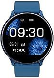 READ Smartwatch Reloj Inteligente Impermeable Hombre Mujer con Contador de Pasos del podómetro del Monitor de frecuencia cardíaca, Reloj de Fitness para Android iOS Samsung Huawei (R33-Azul)