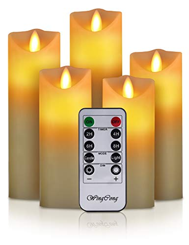 Led Candles, Flameless Candles, 5.5'/6'/6.5'/7'/8'Set of 5 Flameless Flickering Candles Battery Operated with 24 Hour Timer and 10 Key Remote Control, Ivory Real Wax Moving Wick Candles