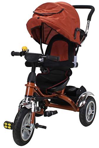 Miweba Kinderdreirad Schieber 7 in 1 Kinderwagen - 360° Drehbar - Luftreifen - Heckfederung - Laufrad - Dreirad - Schubstange - Ab 1 Jahr (Braun)