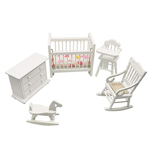 Perfeclan 1/12 Simulated Miniature Crib Cabinet Rocking Chair and Rocking Horse Living Room Accessories for Dolls House