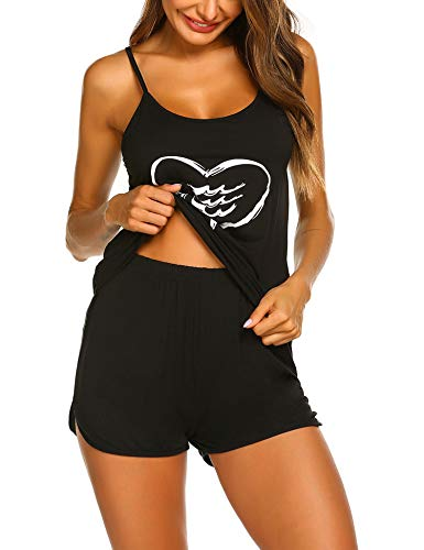 Ekouaer Women's Print Sleepwear Two Piece Cotton Pajamas Set Pj Sleepwear Set Black