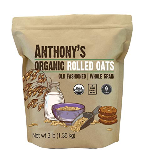 Anthonys' Organic Rolled Oats, 3 lb, Gluten Free, Non GMO, Old Fashioned, Whole Grain