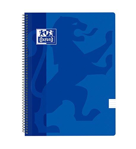 Oxford Classic - Pack de 5 cuadernos espirales, tapa plástico, 1 línea horizontal, color azul