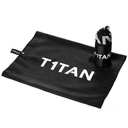 T1TAN Glove Towel - Microfaser Torwarthandtuch mit Mesh Beutel und Clip zum ins Tor hängen - schwarz 40x80 cm