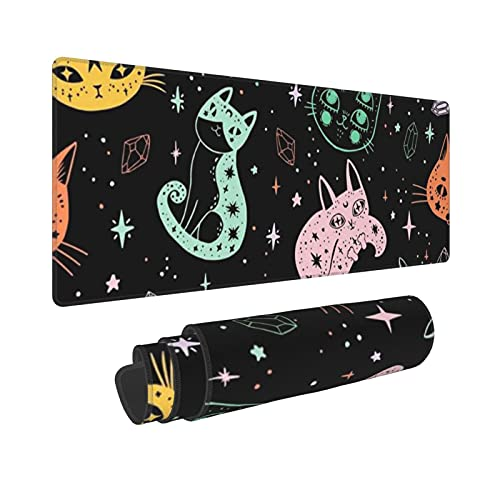 Witch's Cat Printed Mouse Pad Large Gaming Mouse Mat Computer Keyboard Pad Desk Pad with Non-Slip Base Water Resist for Office Gaming and Home (11.8 X 31.5 Inch)
