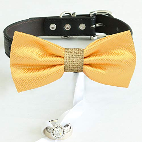 Yellow burlap bow tie collar Leather Finally popular brand ring honor dog of Brand new be