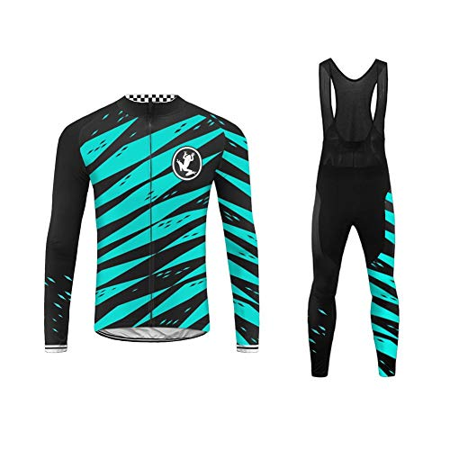 Uglyfrog Cycling Kit Fleece Winter Fahrradbekleidung Set Radtrikot Langarm Winddicht Herren Thermische Fleece mit 20D Polster Hosen Anzüge Long Trikots + Lange Bib Hosen Gel Pad Triathlon Clothes