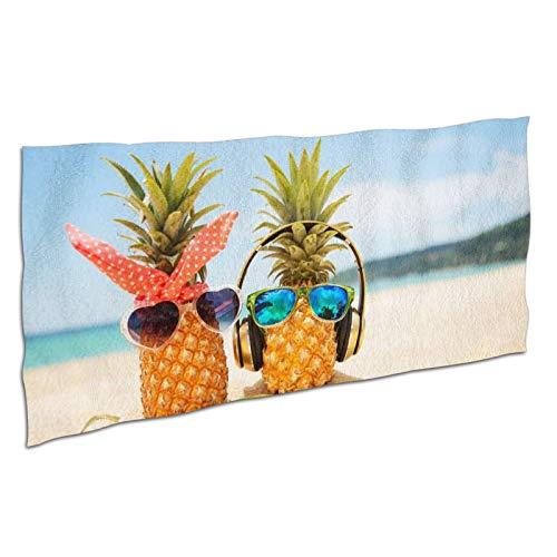 WDS6DF Toalla de baño de piña en la playa para adultos y niños, de gran tamaño, color blanco, absorbente y de secado rápido