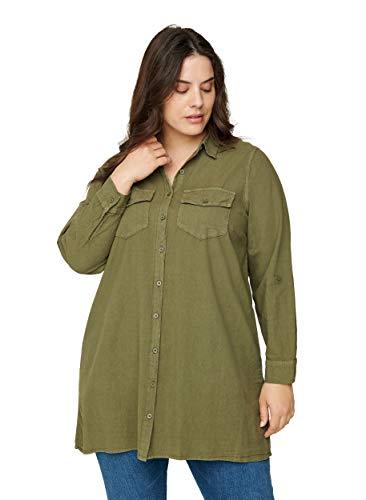 Zizzi Damen Große Größen Tunika Knöpfe Baumwolle Grün Gr 50-52