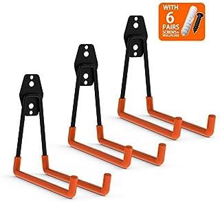 CoolYeah Gancho doble de acero para almacenamiento de garaje, resistente para organizar ganchos de escalera, ganchos largos en U (3 unidades, 6,3 x 7,3 x 6,1 pulgadas)