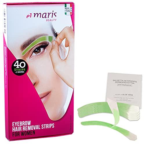 Elmaris Bandas de cera fría para la depilación de las cejas. Se adaptan a cualquier forma de ceja. Precisas y rápidas. Depilación indolora y duradera. Aplicación fácil (20 bandas = 40 aplicaciones)