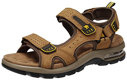 CAMEL CROWN Uomo Sandali Sportivi Cuoio Trekking Sandali Scarpe Estivi Outdoor Traspirante Pelle Cuscino d'Aria Sandalo Pantofole Pescatore Spiaggia Offroad