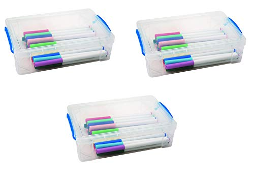Super Stacker Large Pencil Box, 9' x 5.5' x 2.63', Clear, Sold as 3 Pack (37539)