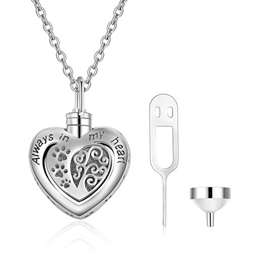 Memorial Urn Necklace for Dog Cat Pets Ashes,Engraved'Always in My Heart'Sterling Silver Dog Paw Pendant Necklace For Women