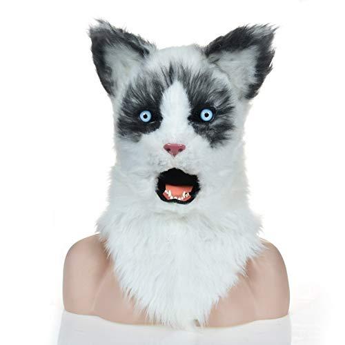 Hochwertige Materialien Animal Furry Mask High End Kopf Hals Tier Masken Simulation Tier Karneval Yellow Ragdoll Masken OEM Herstellung Factory Animal Masken Tierhalsmaske (Color : Black)