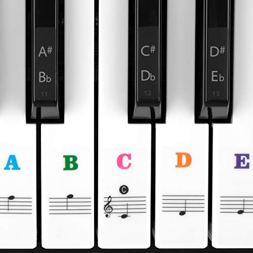 Piano Stickers for Keys, Eison Colorful Piano Keyboard Stickers for 88/61/54/49/37 Full Set Black and White Key Stickers Removable for Kids Learning Piano, Leaves No Residue, Kids Gift -Multi-Color