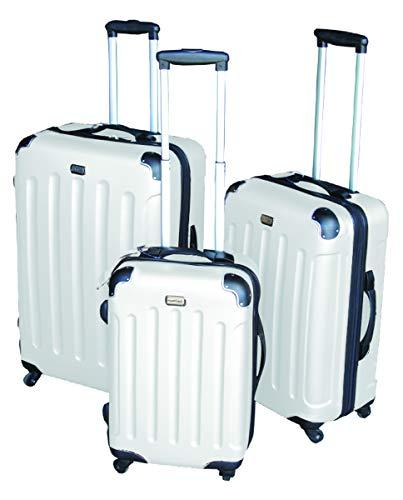3-TLG Luxus Hartschalen Kofferset Reisekofferset Reiseset Trolley Trolly Reise Set Koffer inkl. Kofferwaage, Farben:Weiß