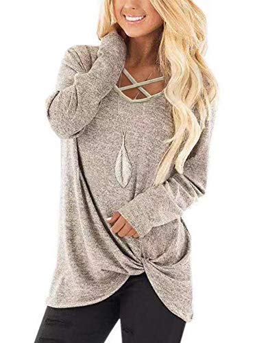Womens Tops V Neck Warm Long Sleeves Solid Fall Sweater Twist Knot Tunics M