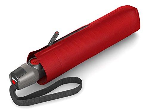 Knirps - Ombrello tascabile T.200 Duomatic Solids - A scomparsa automatica - Pieghevole - Resistente alle intemperie - Antivento - Rosso