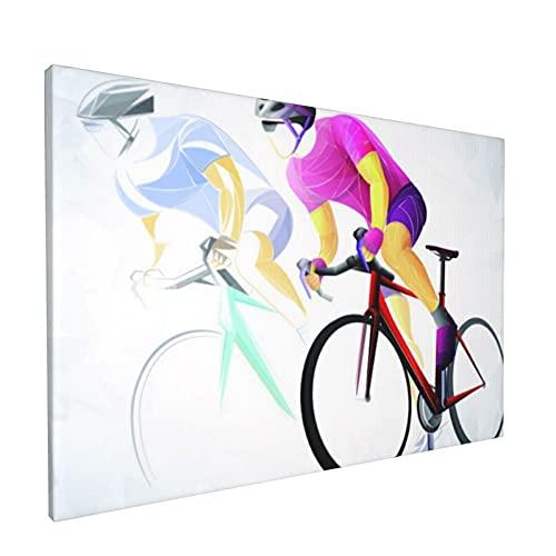 PATINISA Painting Stampe su Canvas Ciclismo Sport Ciclista Rosso Quadri per L'Ufficio Domestico Decorazione Moderna 45x30cm
