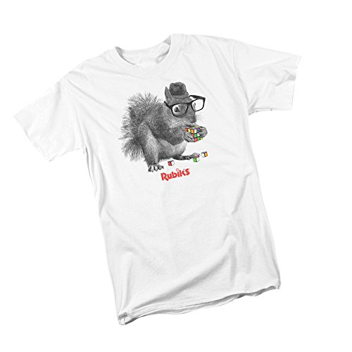 Rubik's Cube Nerd Squirrel Youth T-Shirt, Youth X-Large White