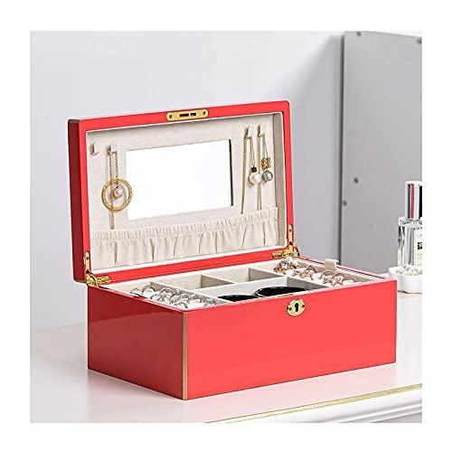 Caja de Joyas Caja de joyería de madera para mujeres, caja de almacenamiento de joyería con llave con espejo, almacenamiento para el collar de reloj Pulsera de anillo de anillo Caja de Joyería