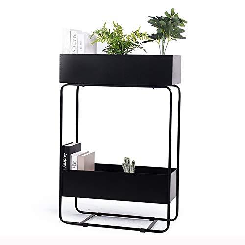 YANFEI étagères à fleurs, Support à fleurs, support multicouche en fer forgé, contenants pour plantes bicolores, noir et blanc, avec support de rangement vert en creux