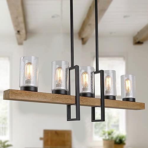 Anmytek Metal Wood and Glass Chandelier Pendant Light, Rustic Hanging Lamp Edison Vintage Decorative Ceiling 5 Lights Luminaire, C0011