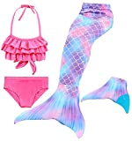 Le SSara 2018 New Muchachas Sirena Tails Bikini Traje de baño 4PCS Traje de baño con Aleta para Nadar Cosplay (130, DH67+WJF48-Blue)