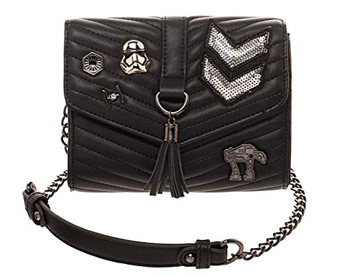 Officially Licensed Star Wars Product Snap Closure Interior Large Compartment With Zipper Pocket Removable chain Crossbody Strap