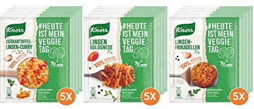 Knorr Natürlich Lecker Vegetarische Fixprodukte mit Linsen Bolognese (5x 3 Portionen), Linsen Frikadelle (5x 2 Portionen) und Süßkartoffel Linsen Curry (5x 2 Portionen) (15 Stück)