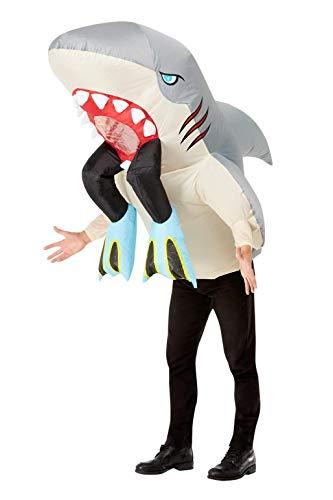 Smiffys Inflatable Shark & Diver Costume Disfraz inflable de tiburn y buzo, color gris, Talla nica (55023)